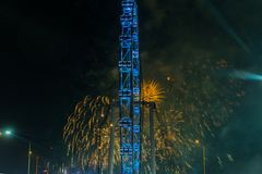 Fireworks celebrating Chinese New year in Singapore Stock Photography