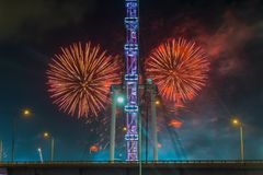 Fireworks celebrating Chinese New year in Singapore Stock Photos