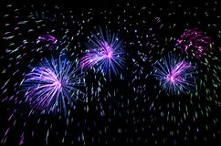 Fireworks. Celebrating holidays with colorful fireworks display. Happy New Year 2017 greeting card. Happy Independence Day. Success celebration Royalty Free Stock Photo