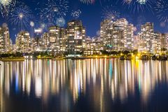 Fireworks During New Years Eve in Vancouver, Canada Royalty Free Stock Images