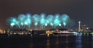 Fireworks celebrating over  marina bay in Yokohama City Royalty Free Stock Photography