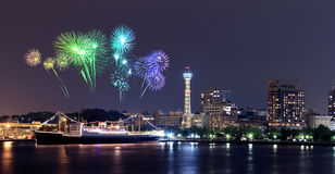 Fireworks celebrating over  marina bay in Yokohama City Stock Photo