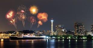 Fireworks celebrating over  marina bay in Yokohama City Royalty Free Stock Images