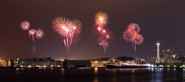 Fireworks celebrating over  marina bay in Yokohama City Royalty Free Stock Image