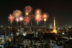 Fireworks celebrating over Tokyo cityscape at night Stock Photography