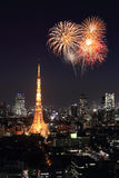 Fireworks celebrating over Tokyo cityscape at night Royalty Free Stock Photography