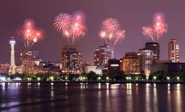 Fireworks celebrating over Yokohama cityscape at night Royalty Free Stock Images