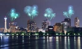 Fireworks celebrating over Yokohama cityscape at night Stock Images