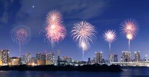 Fireworks celebrating overOdaiba, Tokyo Royalty Free Stock Image