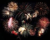 Fireworks Celebration. Fireworks bursting in a black sky Stock Images