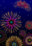 Fireworks celebration. Vector fireworks background with stars and lights Royalty Free Stock Photography
