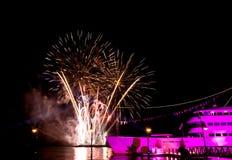 Fireworks celebration. Celebration  fireworks by the pier Stock Photography