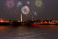 Fireworks celebration. Over washington dc skyline Royalty Free Stock Images