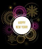 Fireworks and celebration background, Happy New Year Royalty Free Stock Photography