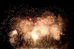 Fireworks celebration background. At night Royalty Free Stock Photo