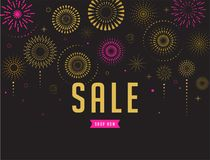 Sale poster, Fireworks and celebration background. Fireworks and celebration background, sale poster and banner Stock Photos