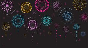 Fireworks and celebration background, winner, victory poster. Banner Royalty Free Stock Photo
