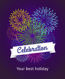 Fireworks celebration card template. Fireworks background, celebration card or celebration poster template. Colorful salute and text banner. Vector illustration Stock Photos