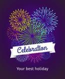 Fireworks celebration card template Stock Photos