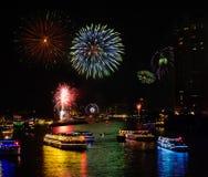 Fireworks Celebration on Chao Phraya River, Thailand Royalty Free Stock Photography