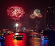 Fireworks Celebration on Chao Phraya River, Thailand Stock Image