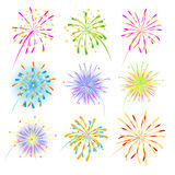Fireworks celebration collection for holiday. Design. Vector illustration Royalty Free Stock Photo