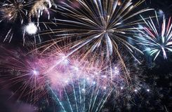 Fireworks Celebration. Colorful Fireworks on Black Sky Stock Photography
