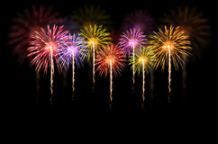 Fireworks celebration on dark background. royalty free stock photo