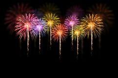 Fireworks celebration on dark background. Royalty Free Stock Photo