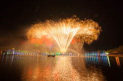 Fireworks Celebration Event. Fireworks light water park Nong Prajak Udon countries Thailand Royalty Free Stock Photos
