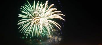Fireworks celebration. Festive fireworks in the night sky Stock Photo