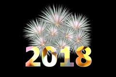 The fireworks celebration happy new year 2018 on black backgroun. D Stock Image