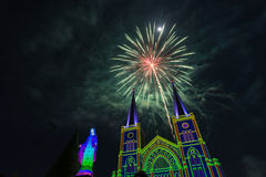 Fireworks Celebration With Merry Christmas. Fireworks With Merry Christmas Color light, 3d color image Royalty Free Stock Photo