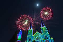 Fireworks Celebration With Merry Christmas. Fireworks With Merry Christmas Color light, 3d color image Stock Image