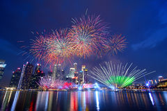 Fireworks celebration. National day celebration in Singapore Stock Image