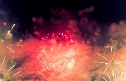 Fireworks. Celebration of New Year in Copacabana Royalty Free Stock Image