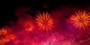 Fireworks. Celebration of New Year in Copacabana Stock Photos