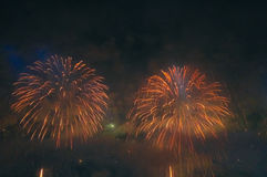 Fireworks. Celebration of New Year in Copacabana Stock Images