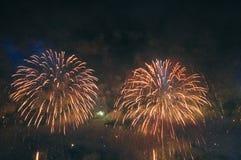 Fireworks. Celebration of New Year in Copacabana Stock Image