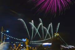 Fireworks in Florianopolis. stock photos