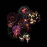 Fireworks Celebration. At night on black Background Stock Image