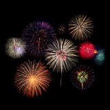 Fireworks Celebration at night. On black Background Royalty Free Stock Photography