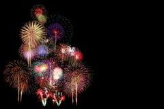 Fireworks Celebration at night. On black Background Royalty Free Stock Image