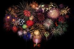 Fireworks Celebration. At night on black Background Stock Photography