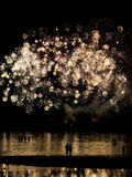 Couple under fireworks