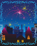 Fireworks celebration scene. Detailed illustration Royalty Free Stock Photo