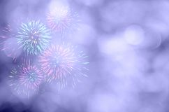 Fireworks celebration and the twilight sky background with bokeh Royalty Free Stock Image