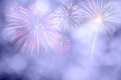 Fireworks celebration and the twilight sky background with bokeh Stock Photography