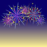 Fireworks celebration and the twilight sky background. Stock Photos
