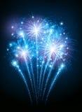 Fireworks. Celebratory fireworks blue. Vector illustration Royalty Free Stock Photo